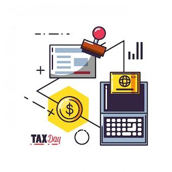 Steuertag mit laptop-computer und eingestellten ikonen