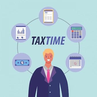 Steuertagesgeschäftsmannkarikatur