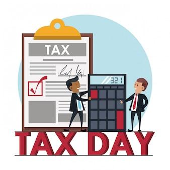 Steuertagesymbole und cartoons