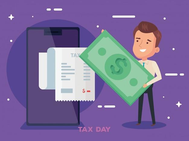 Steuertagillustration mit geschäftsmanncharakter