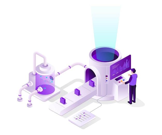 Steuerungsanlage förderband in isometrischer ausführung Premium Vektoren