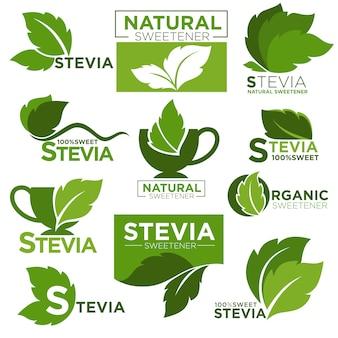 Stevia-süßstoffzucker ersetzt symbole und etiketten für gesunde produkte
