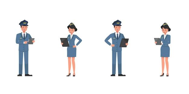 Steward- und stewardess-charaktervektordesign. präsentation in verschiedenen aktionen. nein10