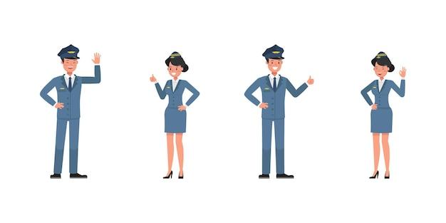 Steward- und stewardess-charaktervektordesign. präsentation in verschiedenen aktionen. nein11