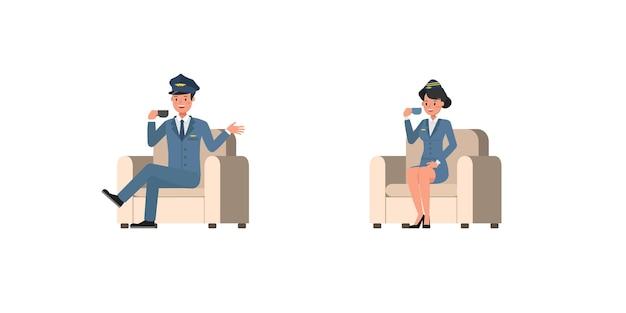 Steward- und stewardess-charaktervektordesign. präsentation in verschiedenen aktionen. nein12