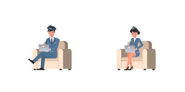 Steward- und stewardess-charaktervektordesign. präsentation in verschiedenen aktionen. nein13