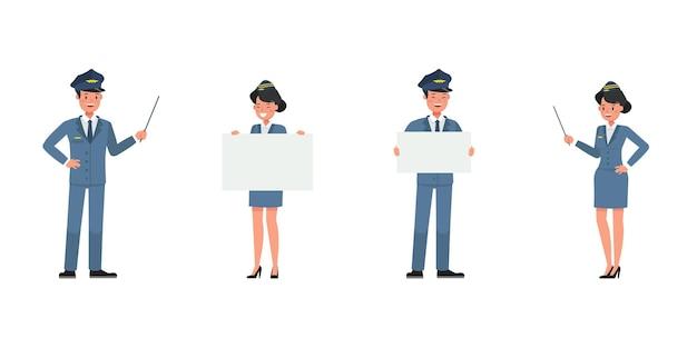 Steward- und stewardess-charaktervektordesign. präsentation in verschiedenen aktionen. nein7