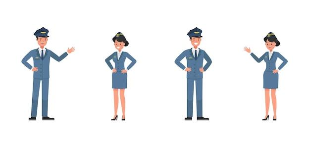 Steward- und stewardess-charaktervektordesign. präsentation in verschiedenen aktionen. nein8