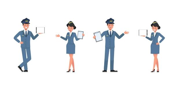 Steward- und stewardess-charaktervektordesign. präsentation in verschiedenen aktionen. nein9