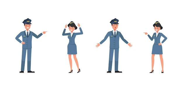 Steward- und stewardess-charaktervektordesign. präsentation in verschiedenen aktionen. nr. 6