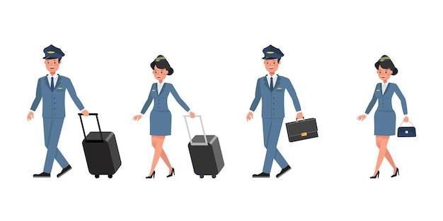 Steward- und stewardess-charaktervektordesign. präsentation in verschiedenen aktionen.