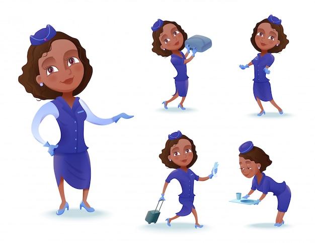 Stewardess cartoon zeichensatz