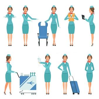 Stewardess charaktere des flughafens und der flugarbeiter