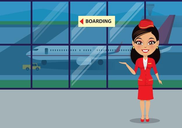 Stewardess, die das boarding unterstützt