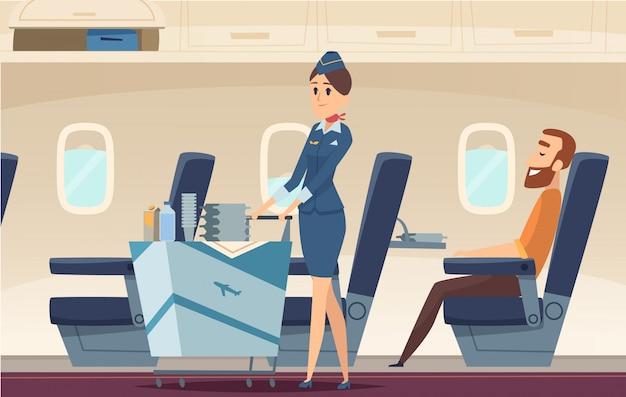 Stewardess hintergrund. avia firmenpersonen, die in flughafenlandschaftsfliegenpiloten der flugzeugkarikaturillustration stehen