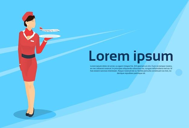 Stewardess hold tray mit kopie flugzeug raum