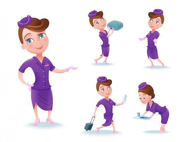 Stewardess-karikaturzeichensatz