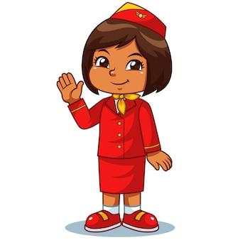 Stewardess-mädchen im roten anzug, der für einen flug sich vorbereitet.