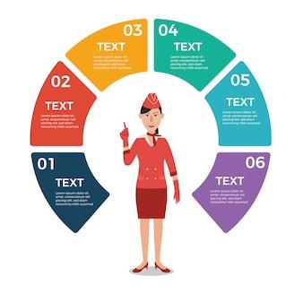 Stewardess mit infographic schablone des kreisdiagramms