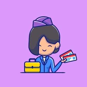 Stewardess mit koffer und bordkarte cartoon icon illustration. people profession icon concept isoliert. flacher cartoon-stil