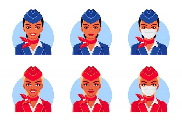 Stewardess mit lächeln und medizinischer maske.