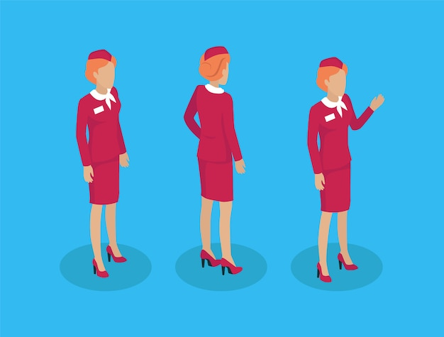 Stewardess-set für flugbegleiter