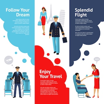 Stewardess und pilot banner set