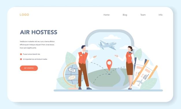 Stewardess-webbanner oder landingpage. flugbegleiter helfen passagieren