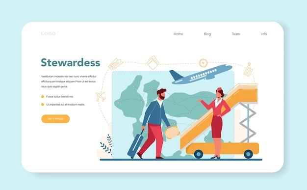Stewardess-webvorlage oder zielseite. schöne weibliche flugbegleiter helfen passagier im flugzeug. reisen sie mit dem flugzeug. idee der beruflichen tätigkeit und des tourismus.