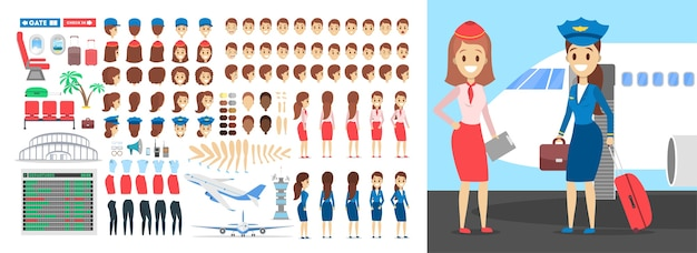 Stewardess-zeichensatz für die animation mit verschiedenen ansichten