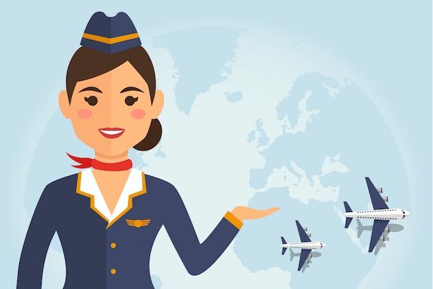 Stewardessfrau in der uniform mit flugzeug