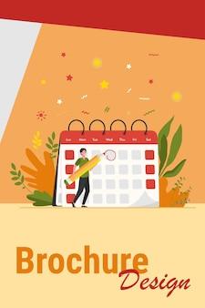 Stichtag für die mitarbeiterkennzeichnung. mann mit bleistift, der das datum des ereignisses ernennt und im kalender notiert. vektorillustration für zeitplan, tagesordnung, zeitmanagementkonzept