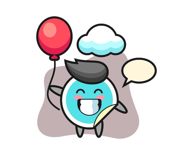 Sticker cartoon spielt ballon