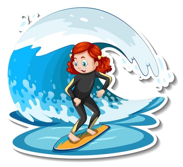 Sticker ein mädchen steht auf surfbrett mit wasserwelle
