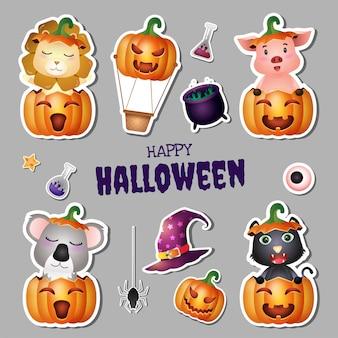 Sticker-halloween-kollektion mit süßem löwen, schwein, koala und schwarzer katze