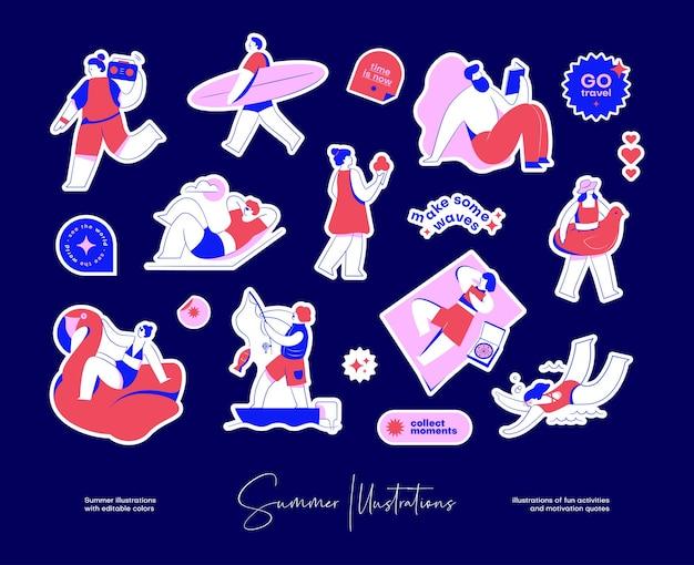 Sticker pack mit bunten illustrationen von lustigen aktivitäten und motivationszitaten