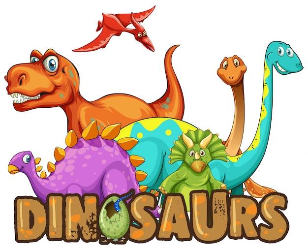 Sticker vorlage mit vielen arten von dinosauriern