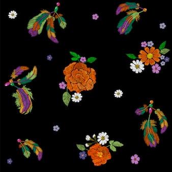 Stickerei boho indianischen federn dekorationsstoff