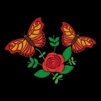 Stickerei rosen und schmetterling ornament für das florale muster