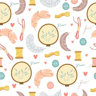 Stickerei und federmuster