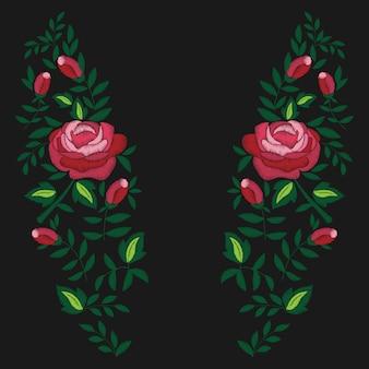 Stickerei von roten rosen und blättern auf schwarzem hintergrund. modedesign für t-shirt.