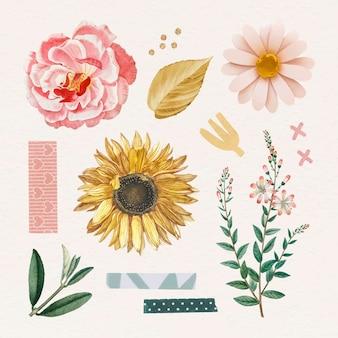Stickerpaket mit rosen und sonnenblumen