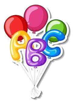 Stickervorlage mit vielen bunten luftballons