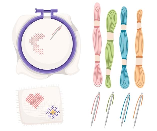 Stickrahmen zum kreuzstichnähen. lila kunststoffbügel, edelstahlnadel mit farbigen fäden. taschentuch mit herz und sonnenikone. illustration