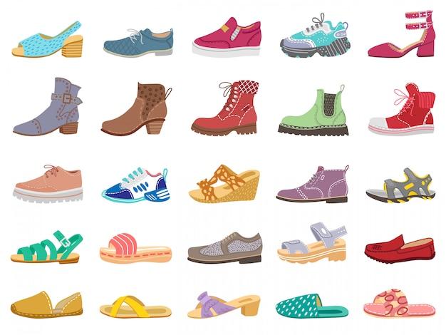Stiefel und schuhe. moderne elegante damen-, herren- und kinderschuhe, turnschuhe, sandalen, stiefel für winter- und frühlingsillustrationsikonen setzen. turnschuhe und stiefel, modell, kinderschuhe