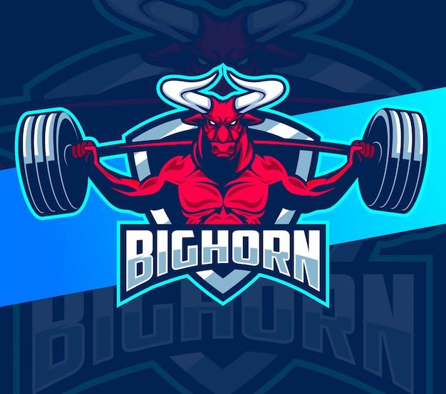 Stier fitness starkes maskottchen esport logo design