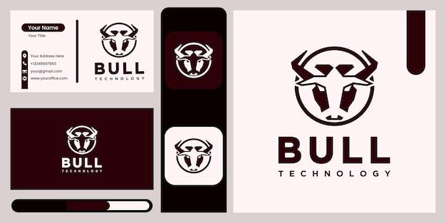 Stier-logo-technologie-logo-design elegantes abstraktes stier-vektor-logo im linearen stil