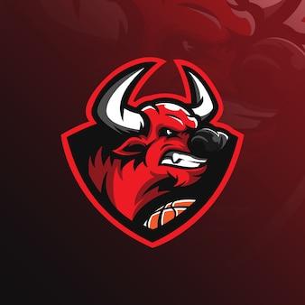 Stier-maskottchen-logo mit moderner illustration