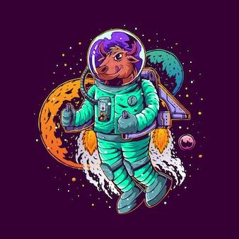 Stier mit handgezeichneter illustration des astronautenanzugs