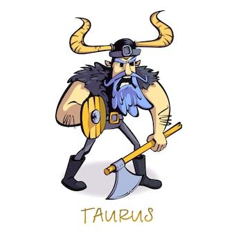 Stier sternzeichen mann flache karikatur. wikinger, horoskop zeichen persönlichkeit. gebrauchsfertige 2d-zeichenvorlage für werbung, animation und druckdesign. isolierter comic-held